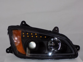 2008 KENWORTH T660 LED HEADLIGHT WITH BLACK HOUSING PAIR KW003-B1WPA